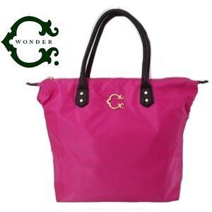 C. WONDER Pink Nylon Leather Tote